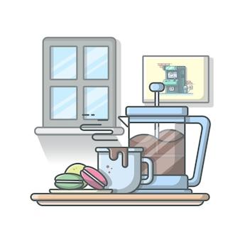 Heißer kaffee mit makronen und teekanne illustration. weißer isolierter hintergrund