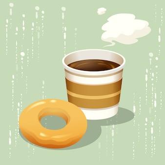 Heißer kaffee und donut lokalisierter vektor