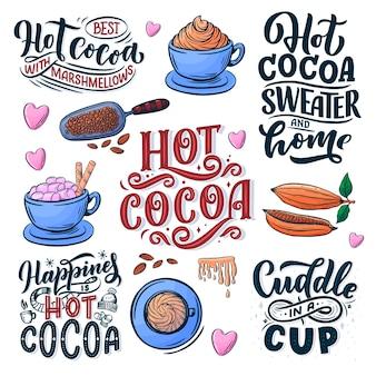 Heißer kakao-handbeschriftungssatz mit tasse kakao