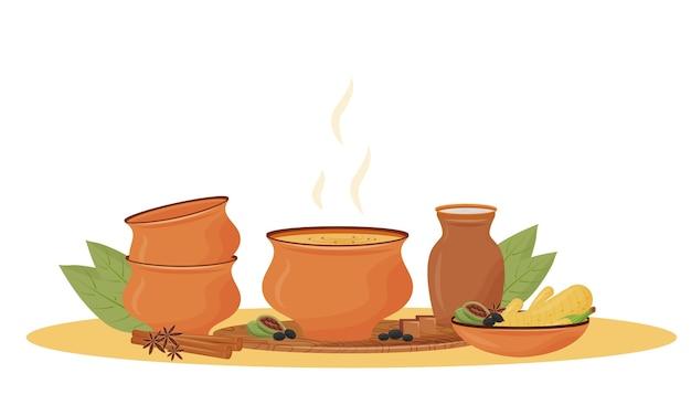 Heißer masala-tee in der schüsselkarikaturillustration. traditionelles indisches getränk, aromatische würzige mischung, flaches farbobjekt. restaurantgetränk, serviert chaiwala lokalisiert auf weißem hintergrund