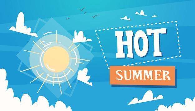 Heißer sommerferien-sonnenschein im blauen himmel-reise-retro- fahnen-küstenurlaub