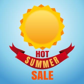 Heißer sommerschlussverkauf. sonne-logo-symbol und schriftzug auf blauem hintergrund. illustration