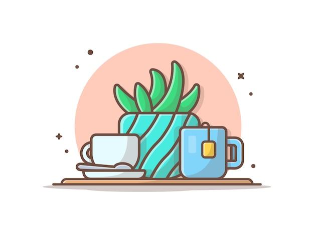 Heißer tee mit pflanze und heißem kaffee