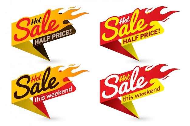 Heißer verkaufspreis angebot deal vektor etiketten vorlagen aufkleber designs mit flamme
