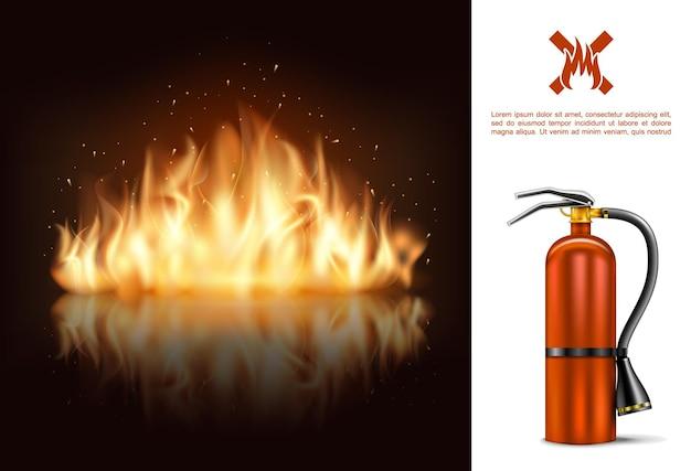 Heißes brennen, das mit feuerlöscher und flamme auf dunklem hintergrund in realistischer artillustration glüht Premium Vektoren