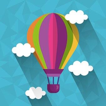 Heißes fliegen der ballonluft im himmel