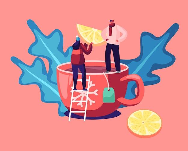 Heißes getränk für das konzept der kalten jahreszeit. karikatur flache illustration