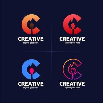 Heißes logo des buchstaben c mit brandmatch