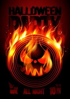 Heißes plakat der halloween-party mit brennendem vinyl
