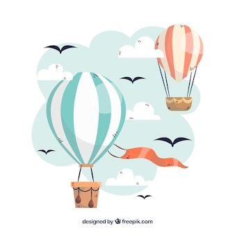 Heißluft steigt hintergrund im himmel mit wolken im ballon auf