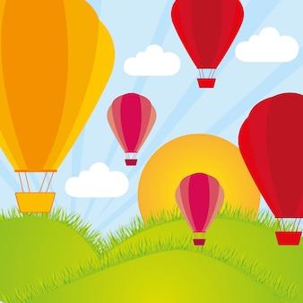 Heißluftballon an von bergen und von sonnenschein