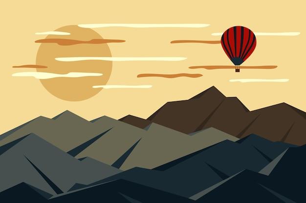 Heißluftballon, der über gebirgslandschaft im flachen stil fliegt