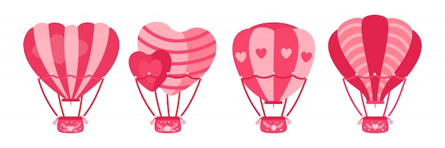 Heißluftballon flach eingestellt. herzförmige oder kreisförmige rosa farbe. luftballonsammlung des karikatur-valentinstagdesigns. feste, sommerhochzeitsreise lufttransport. isolierte illustration
