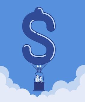 Heißluftballon in dollarform mit geschäftsleuten. glücklicher geschäftsmann, geschäftsfrau genießen einen sicheren, angenehmen startflug, investieren in die erforschung neuer märkte und erhalten finanziellen nutzen. vektor-illustration