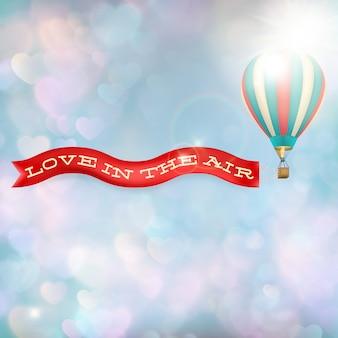 Heißluftballon mit banner.