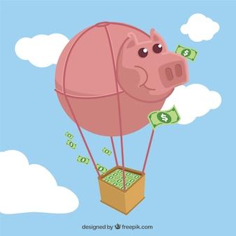 Heißluftballon mit einem sparschwein