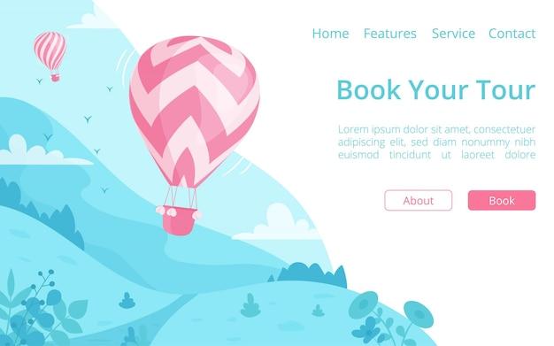 Heißluftballon online-buchungswebsite vorlage. landingpage online-reisebuchungskonzept, red hot air ballon auf blauer berglandschaft für reisereservierungsservice-website
