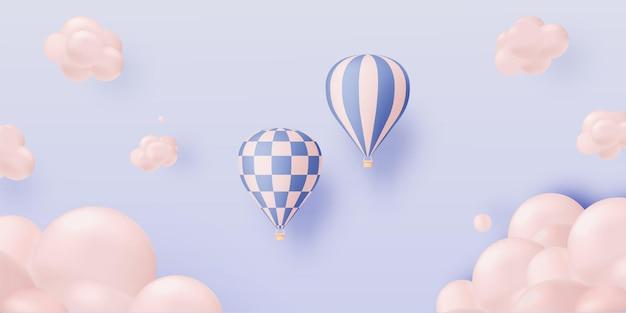 Heißluftballon-papierkunststil mit pastell