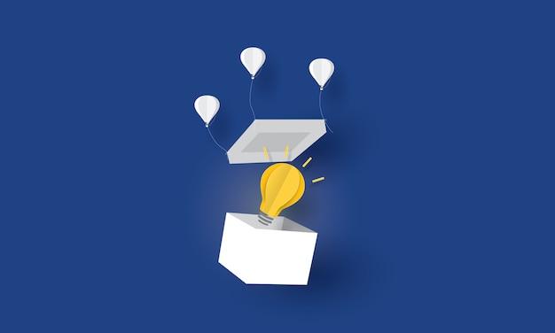 Heißluftballon-pull-box-abdeckung, think out of the box, geschäftskonzept Premium Vektoren