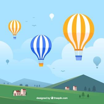 Heißluftballon reisehintergrund