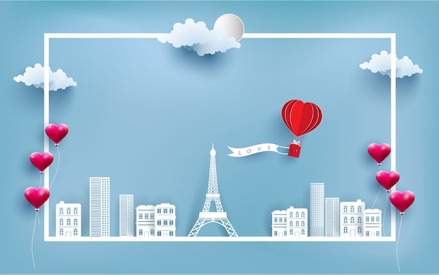 Heißluftballon tragen liebe banner