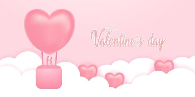Heißluftballon zum valentinstag.