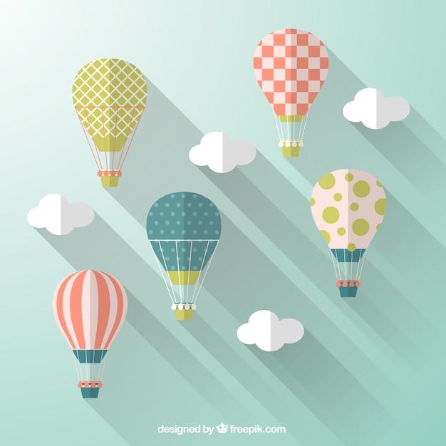 Heißluftballone in flachen design-stil