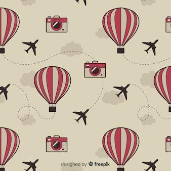 Heißluftballone und flugzeughintergrund