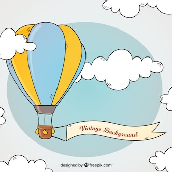 Heißluftballonhintergrund in der weinleseart
