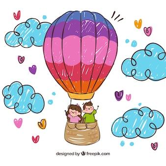 Heißluftballonhintergrund mit gezeichneter Art des Himmels in der Hand