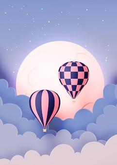 Heißluftballonpapier-kunststil mit pastellhimmelhintergrundillustration
