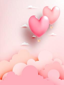 Heißluftballonpapierkunst des herzens mit pastellhimmelhintergrund-vektorillustration