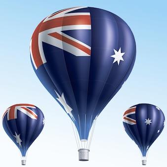 Heißluftballons als australische flagge gemalt