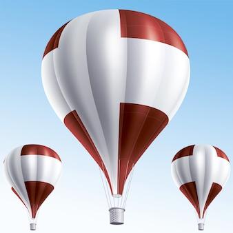 Heißluftballons als flagge dänemarks gemalt