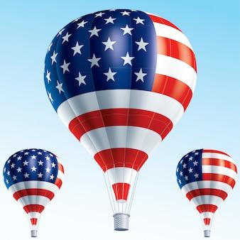 Heißluftballons gemalt als usa-flagge