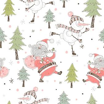 Heiterer schneemann eislaufen. weihnachtskarte.