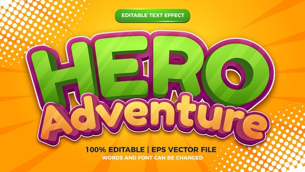 Held abenteuer cartoon comic 3d bearbeitbare textstil-effektvorlage Premium Vektoren