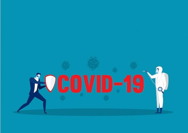 Held geschäftsmann kämpft mit wirkung coronavirus 2019