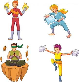 Helden mit der kraft von vier elementen
