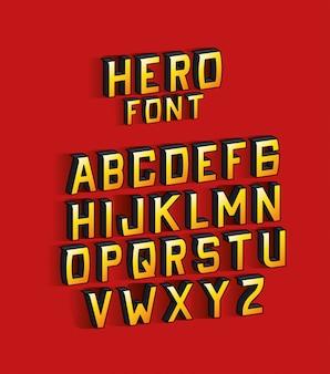 Heldenschrift schriftzug mit alphabet auf rotem hintergrund design, typografie retro und comic-thema