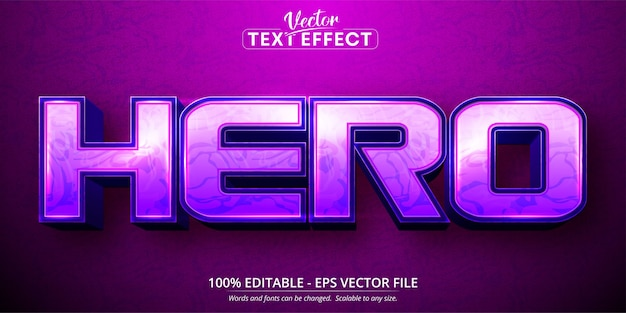 Heldentext, bearbeitbarer texteffekt im cartoon-stil Premium Vektoren