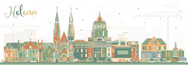 Helena montana city skyline mit farbgebäuden. vektor-illustration. geschäftsreise- und tourismuskonzept mit historischer architektur. helena usa stadtbild mit wahrzeichen.