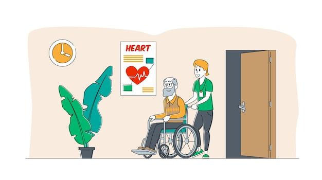Helfen sie alten behinderten menschen im pflegeheim