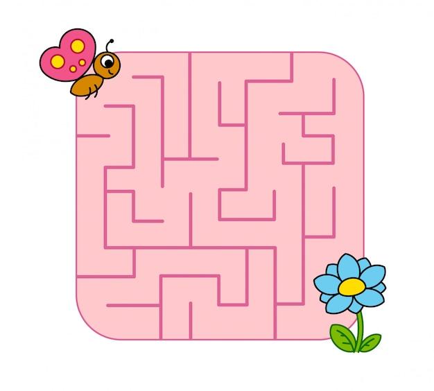 Helfen sie baby-schmetterlingsjungem, den weg zur blume zu finden. labyrinth. labyrinth-spiel für kinder. puzzle.