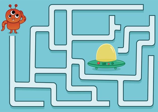 Helfen sie dem außerirdischen durch das labyrinth zu seinem raumschiff labyrinth-spiel für kinder vektor-illustration