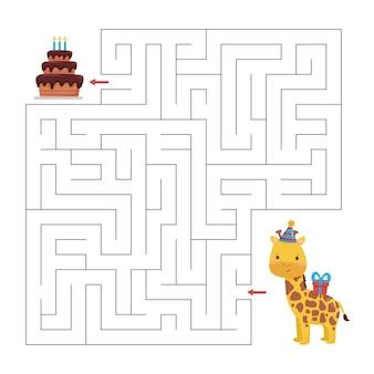 Helfen sie der giraffe, den richtigen weg zum kuchen zu finden