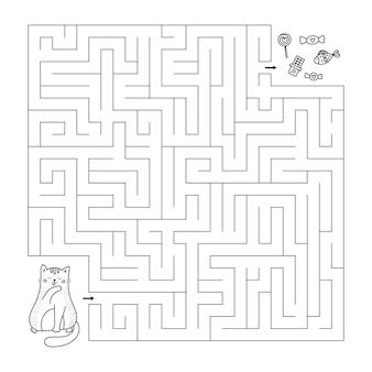 Helfen sie der katze, den richtigen weg zu süßigkeiten zu finden