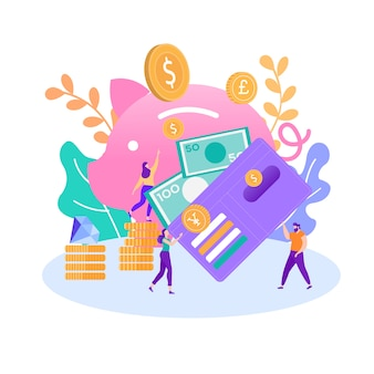 Helfen sie, finanzielle investition zu sichern, geld zu sparen illustration