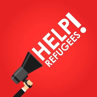 Helfen sie flüchtlingen megaphon in der roten vektorillustration