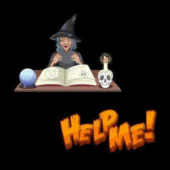 Helfen sie mir schriftart mit alter hexenzeichentrickfigur